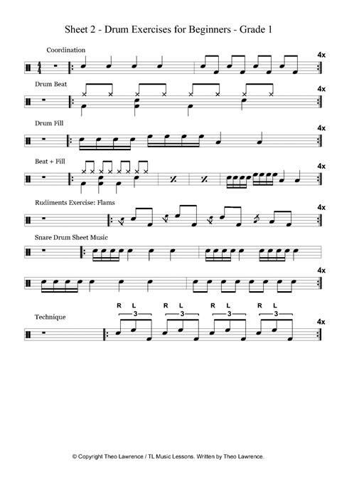 drum tutorial for beginners sheet 2 drum exercises for beginners grade 1