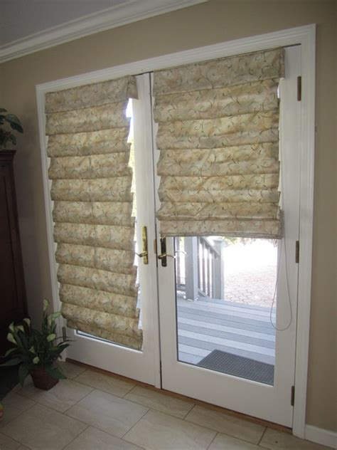 Mini Closet Chandeliers Hobbled Roman Shades On French Doors Traditional