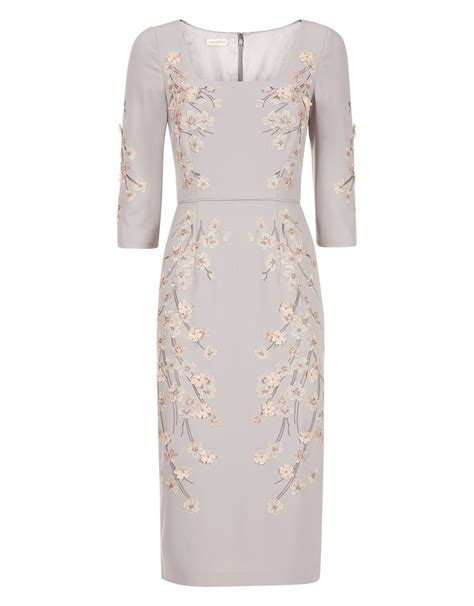 Floral Applique Fashion At Monsoon by Marica Dress Silver Monsoon Wedding Guest Dresses