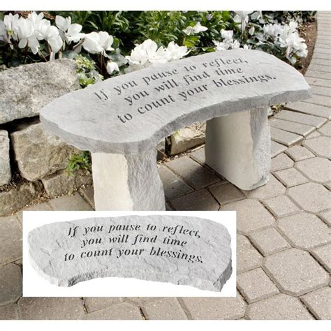 stone memorial bench count your blessings cast stone memorial garden bench