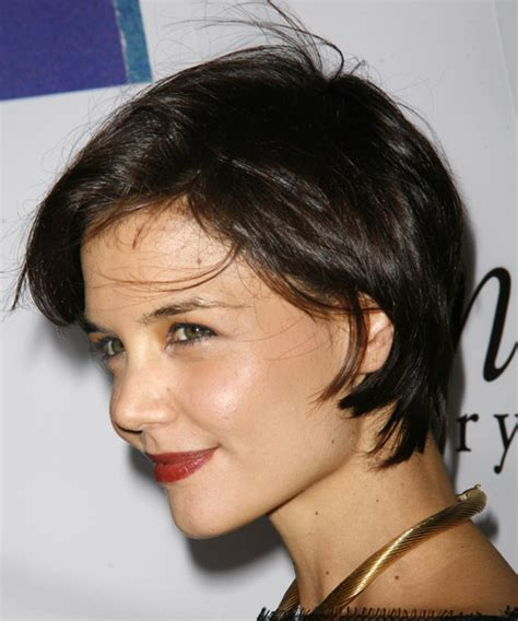 no fuss hairstyles for fine thin straight hair katie holmes short straight casual hairstyle