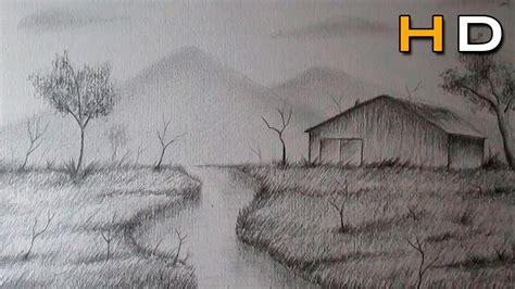 draw a landscape step by step with pencil drawing art ideas