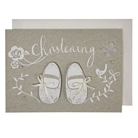 handmade christening shoes christening card karenza paperie
