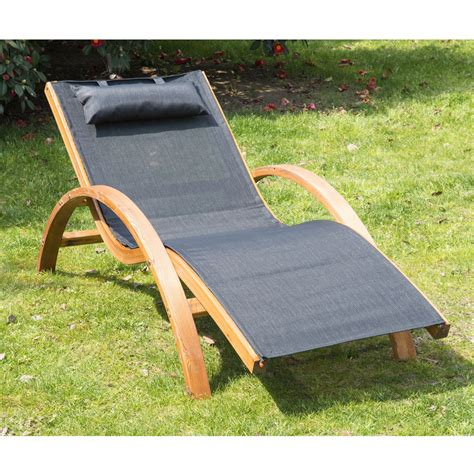 reclining garden lounger outsunny outdoor reclining mesh lounger with cushion black