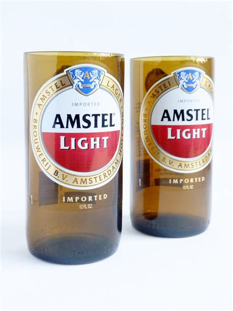 Amstel Light Content by Amstel Light Set Of 2 Bottle Glasses Table Ls