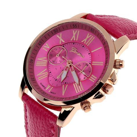 Jam Tangan Analog Wristwatch new womens fashion numerals faux leather analog