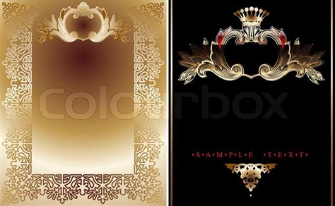 Vintage Home Design Plans Two Gold And Black Ornate Royal Backgrounds Stock Vector