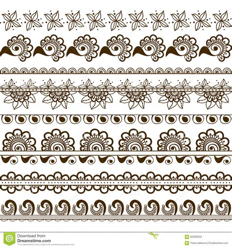 vector set of hand drawn borders in ethnic indian style