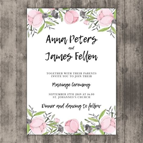 Floral Wedding Invitation Template On Wood Vector Free Floral Wedding Invitation Template