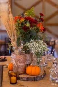 Diy glitter mason jar fall wedding centerpiece with pumpkin and baby s