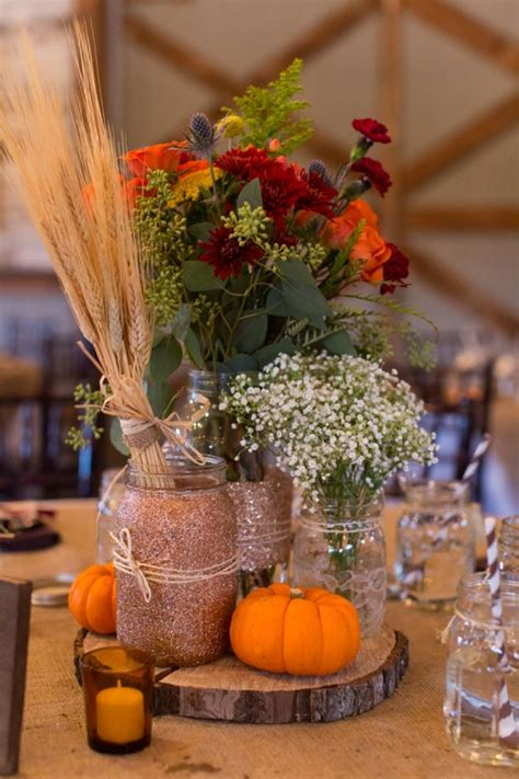 fall centerpieces chad and brandi planned a beautifully diy ed fall wedding