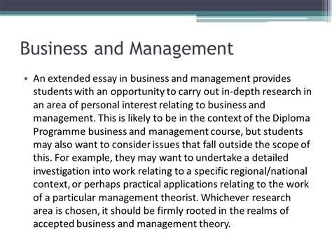 extended essay business and management sle international baccalaureate the extended essay ppt