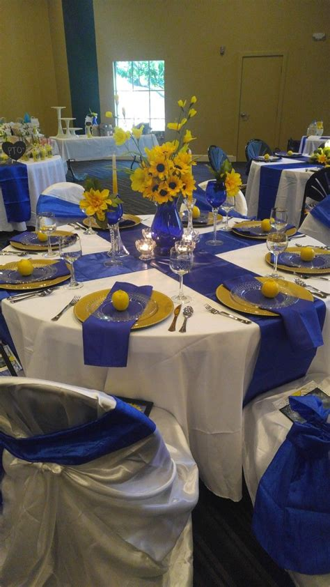fancy breakfast banquet for pto royal blue white and
