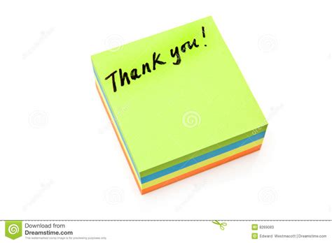 Thank You Note For It Thank You Post It Note Stock Image Image Of Note 8269083
