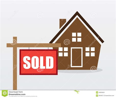 I Sold House by House Sold Sign Stock Vector Image Of Home Real