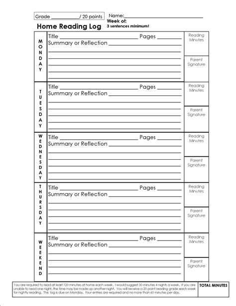 4th grade reading log template reading log