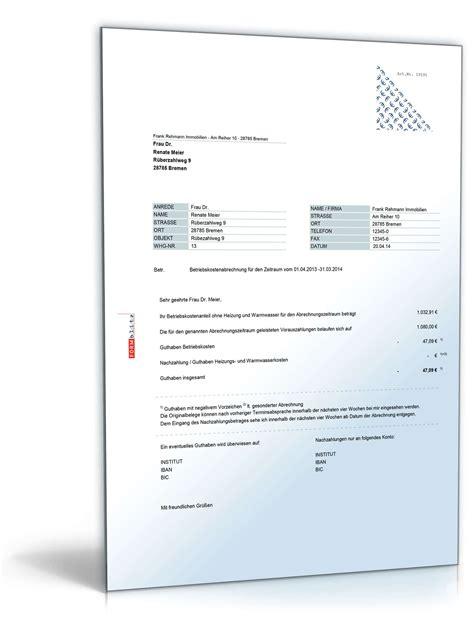 Muster Nebenkosten Formular Betriebskostenabrechnung Tabelle Mit Formeln Zum