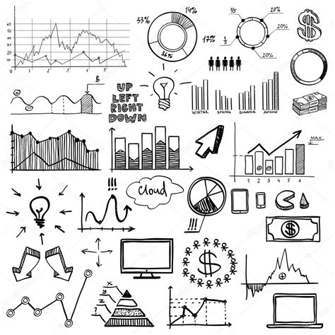 chart draw draw doodle web charts business finanse elements on
