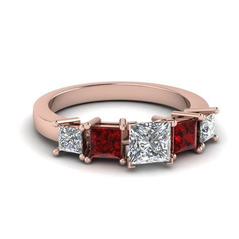 princess cut engagement ring with ruby in 14k
