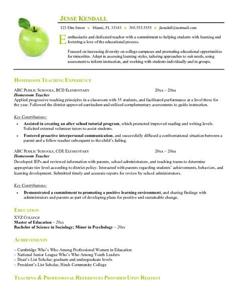 Resume Sample For Teacher by Example Of Resume Format For Teacher Free Homeroom Teacher