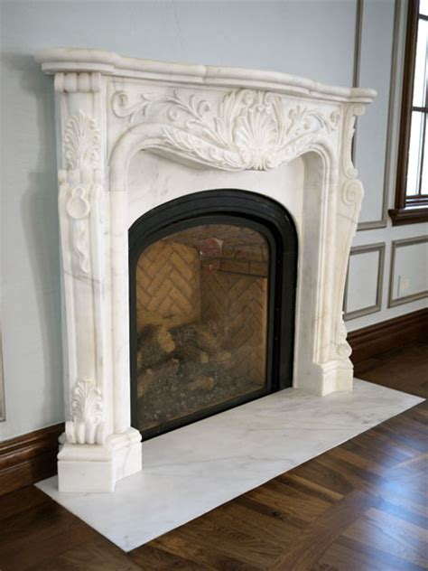 classic french carved white marble fireplace ny  design
