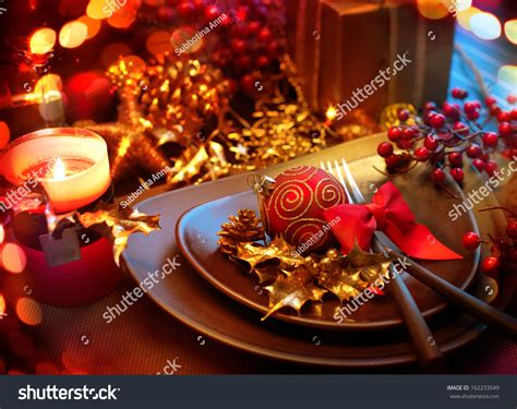 new year dinner place new year table setting stock photo