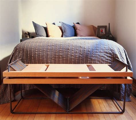 Repurposed Bedroom Furniture Repurposed Rebar And Oak Bench Industrial Bedroom Chicago By Home Design