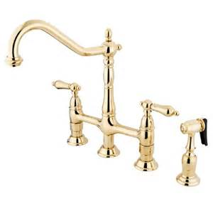 Kingston Brass Kitchen Faucets Kingston Brass Ks1272albs Two Handle Kitchen Faucet With Spray Polished Brass