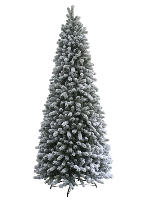 7 5 foot king flock slim artificial christmas tree with