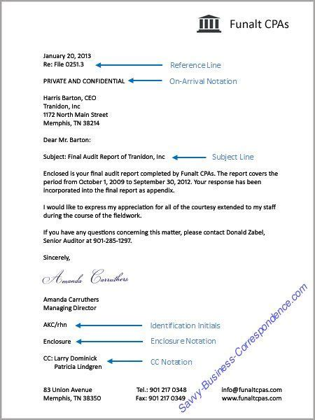 business letter special mailing notations formal