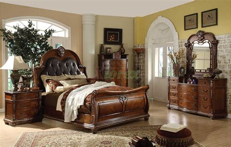 traditional bedroom furniture sets traditional sleigh bedroom furniture set with leather