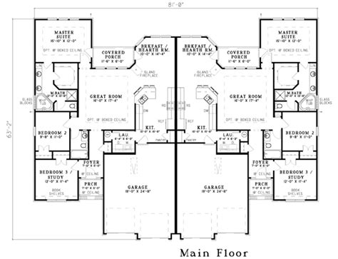 One Story Duplex House Plans by Duplex Home Plans At Coolhouseplans