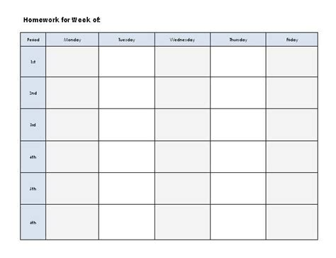 printable homework graphic organizer graphic organizers weekly homework log