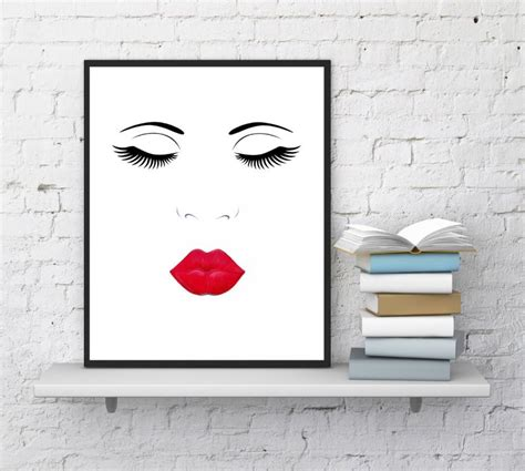 makeup wall art printable face print lips and lashes makeup digital printable
