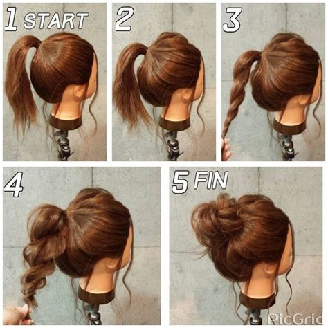 easy hairstyles for long straight hair step by step super easy messy bun in 5 simple steps makeup mania