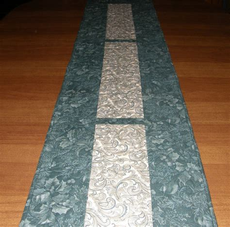Teal Table Runners by Teal Quilted Table Runner Leaves