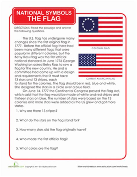 The History Of For Worksheet by History Of The American Flag Worksheet Education