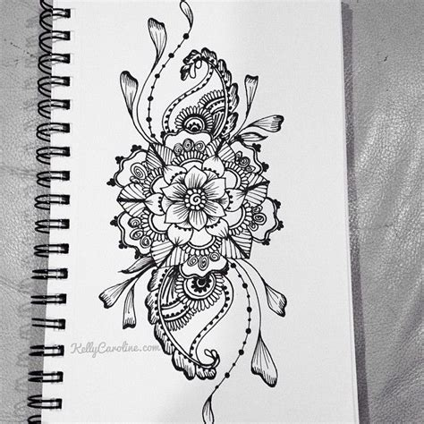 henna design sketches sketched henna design with flowers and paisleys i want