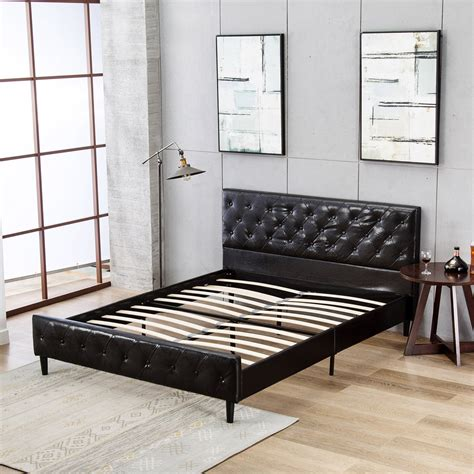 mecor upholstered faux leather platform bed  solid
