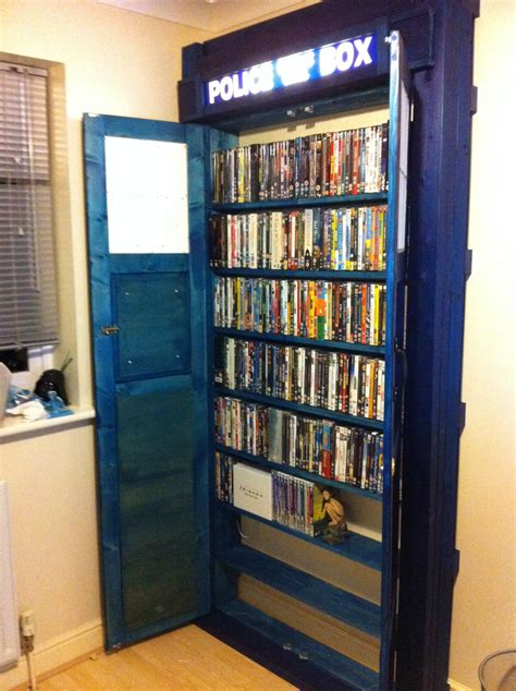 a tardis bookshelf worthy of a time lord s dvd collection