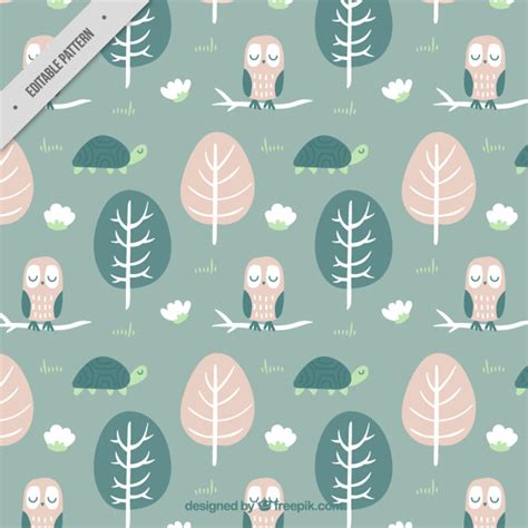owl pattern vector free download hand drawn trees with lovely owl pattern vector free