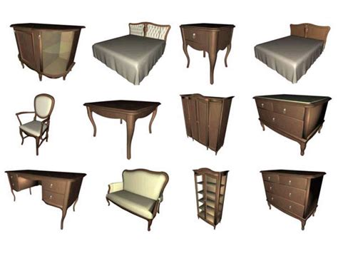 Furniture Items | house furniture 25 items bedroom livingroom sets 3ds 3d studio software household items