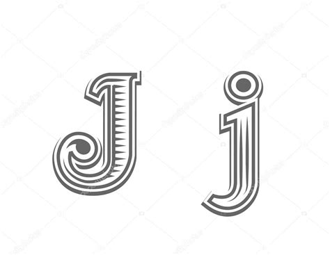 tattoo font letter j font tattoo engraving letter j stock vector
