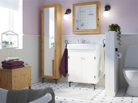 Ikea Bathroom Ideas Pictures A Rustic Bathroom With Silver 197 N Series In Solid Pine And Fr 196 Jen Towels In Lilac Beige And White