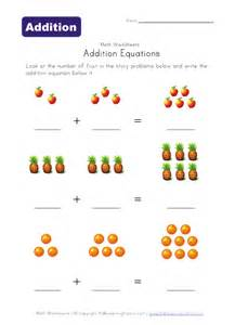 addition equations worksheet fruit kids learning station