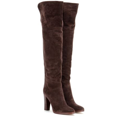 above knee boots lyst chlo 233 the knee suede boots in brown