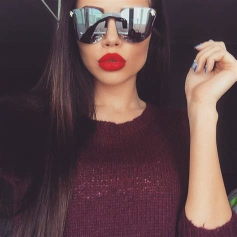 Lipstick With Burgundy Shirt shirt sunglasses burgundy versace lipstick dope burgundy black sunglasses