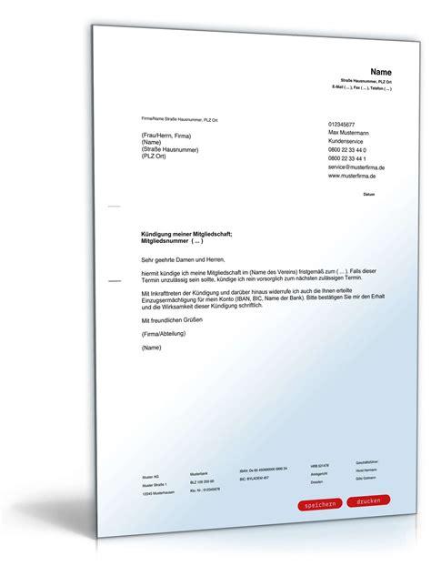 Abmeldung Schreiben Muster Verein K 252 Ndigung Mitgliedschaft Verein Vorlage Zum
