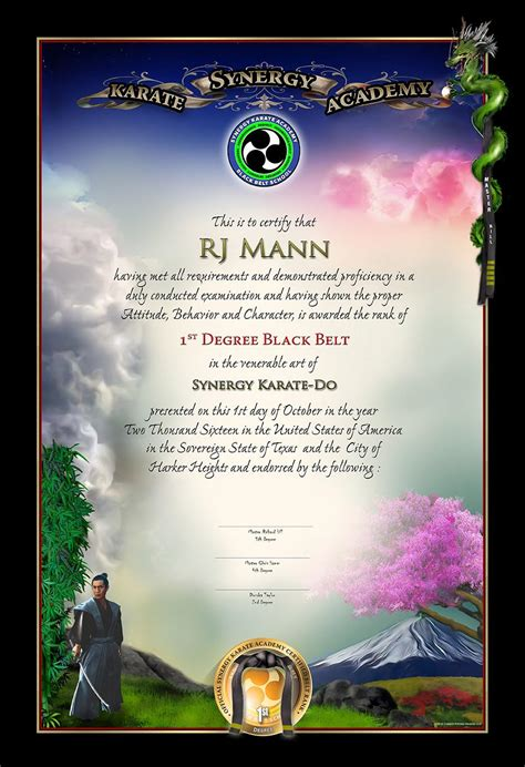 karate black belt certificate templates synergy karate academy black belt certificate martial