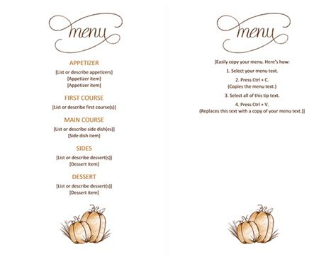 free menu template word